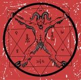 Jäkel med pentagram på röd texturerad bakgrund vektor illustrationer