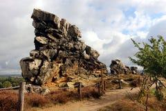 Jäkel`-vägg Teufelsmauer i Harz berg Royaltyfri Bild