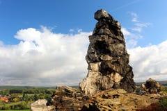 Jäkel`-vägg Teufelsmauer i Harz berg Royaltyfria Bilder