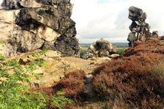 Jäkel`-vägg Teufelsmauer i Harz berg Arkivbilder