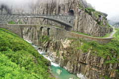 Jäkelns bro, Schweiz Royaltyfria Foton