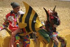 Jäklar av Naiguata dansare under religiös festival på corpuset Christi Day, Venezuela royaltyfri bild