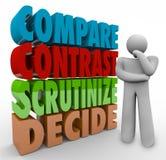 Jämför kontrast undersöker mycket noggrant avgör tänkande Person Choose Select Fotografering för Bildbyråer