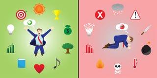 Jämförelse av den positiva och negativa affärsmannen stock illustrationer