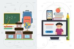 Jämförelse av konventionell och avlägsen utbildning Arkivbild