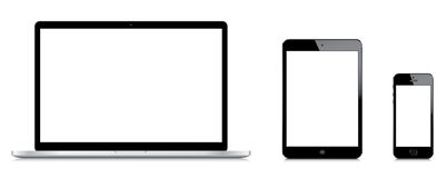 Jämförelse av Macbook den pro-iPadkortkortet och iPhonen 5s Arkivbilder