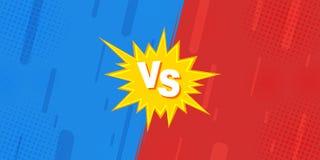 Jämfört till VS ark, göras kampen mot bakgrunder i komisk design för plattskärm av halvton, blixt royaltyfri illustrationer
