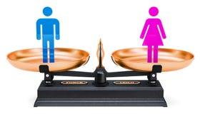 Jämställdhet av män och kvinnor Jämviktsbegrepp, tolkning 3D Royaltyfria Bilder