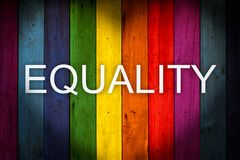 JÄMSTÄLLDHET som uttrycker trä för LGBT-begreppsfärg royaltyfri foto