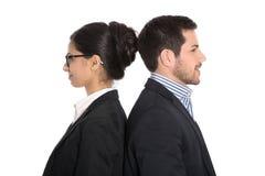 Jämställdheträtter: affärsman och affärskvinna med den samma quaen Arkivbild