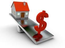 jämvikt för hus 3D och dollar Royaltyfri Bild