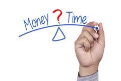 Jämvikt mellan tid och pengar Arkivbild