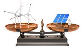 Jämviktsbegrepp, solpaneler eller vindturbiner framförande 3d vektor illustrationer