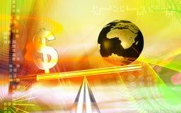 jämviktsdollartecken royaltyfri illustrationer