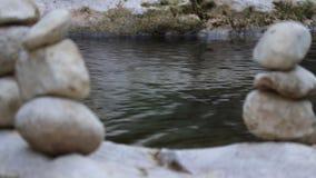 Jämviktssten vid floden arkivfilmer