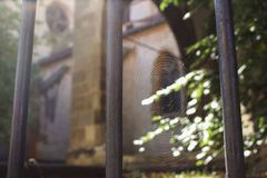 Järn grillat staket och en spindelrengöringsduk Arkivfoton