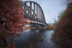 Järnbro i dimman fotografering för bildbyråer
