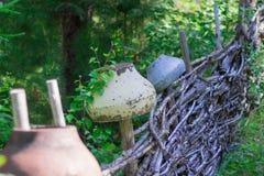 Järnkruka på staketet arkivfoton
