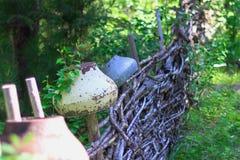 Järnkruka på staketet royaltyfri fotografi