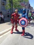 Järnman och kapten America Arkivfoton