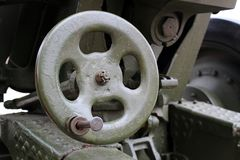 järnstyrninghjul för kanonskottsikt fotografering för bildbyråer