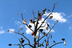 Järnträd med hänglås arkivbild
