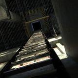 Järntrappuppgång som leder till taket Arkivfoton