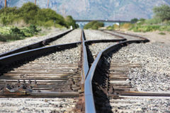 Järnvägändring royaltyfria bilder