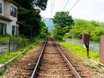 Järnväg av linjen för Hakone Tozan kabeldrev på den Gora stationen i Hakone, Japan Arkivbild