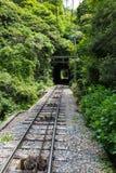Järnväg av Maya Cable Car i monteringsMaya och Rokko arkivbilder