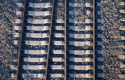 Järnväg bana från över arkivfoton