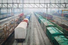 Järnväg bangård. Arkivbild