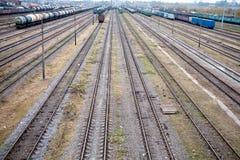 Järnväg bangård Arkivbild