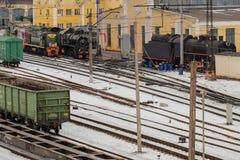 Järnväg bangård Royaltyfria Foton