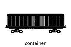 järnväg behållare med namn Last fraktar speditiontransport Sikten för vektorillustrationsidan isolerade royaltyfri illustrationer