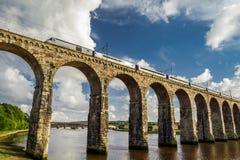 Järnväg bro för sten mellan Skottland och England Arkivfoto