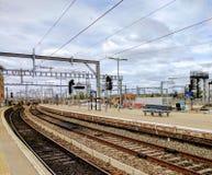 Järnväg elektrifiering UK Arkivfoto