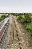 Järnväg- eller järnvägspår Fotografering för Bildbyråer