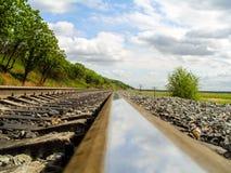 Järnväg- eller järnvägspår Royaltyfri Foto
