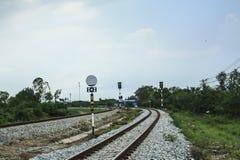 Järnväg för dubbelt spår Fotografering för Bildbyråer