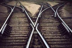 Järnväg föreningspunkt för tappning arkivfoto