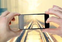Järnväg - foto på din smartphone Royaltyfria Foton