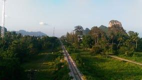 Järnväg hitåt till phattalung Thailand Arkivbilder