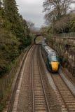 Järnväg i bad med en tunnel royaltyfria foton