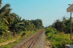 Järnväg i djungel Arkivfoto