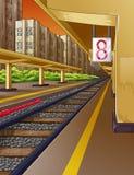 Järnväg i drevstation och ångamotor vektor illustrationer