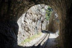 Järnväg i klyftan royaltyfri fotografi