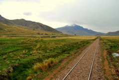 Järnväg i peruanskt landskap Royaltyfri Bild