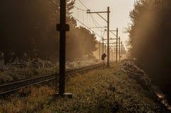 Järnväg i soluppgånginställning Royaltyfria Bilder