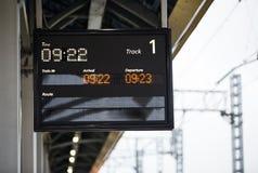 Järnväg informationsskärm om plattform royaltyfri foto